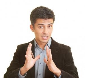 Businessman holding a speech
