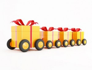 orange gift box covoy on wheels