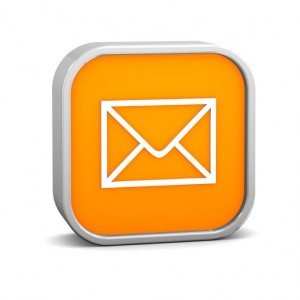 Orange mail sign on a white background. Part of a series.